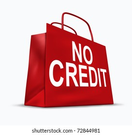 No credit symbol represented by an empty red bag and expressing the concept of bad economic environment.