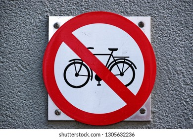 No cycling sign fixed on a wall