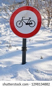 No cycling traffic sign in the snow winter time