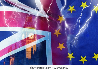 No Deal BREXIT concept image of lightning over London and UK and EU flags symbolising destruction of agreement