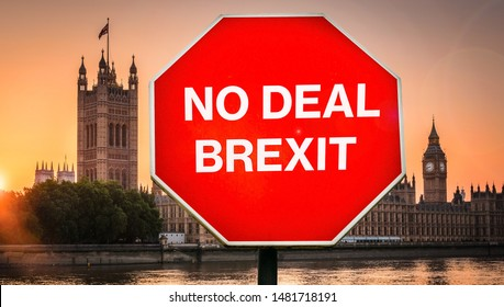 No Deal Brexit digital composite with Houses of Parliament, London in background. UK is set to leave the EU by default on October 31st, 2019 leading to a potentially disruptive exit for its citizens