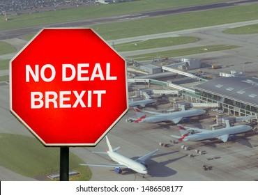 No Deal Brexit digital composite sign with high perspective view of airport terminal in background. UK is set to leave the EU by default on October 31st, 2019 leading to disruptions in travel