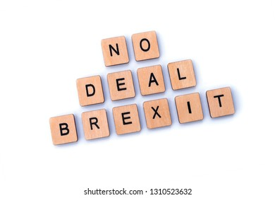 NO DEAL BREXIT, spelt out with wooden letter tiles.