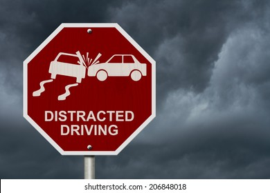 No Distracted Driving Sign, Red stop sign with words Distracted Driving and accident icon with stormy sky background