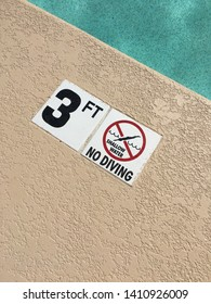 No diving 3 feet 4 5 three four five shallow water warning pool swimming summer chlorine side jump relax sign symbol
