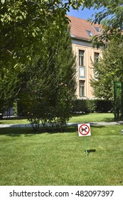 No dogs allowed sign at a park at Budapest, Hungary
