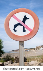 No dogs sign on a beach.