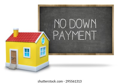 No down payment on black Blackboard with 3d house