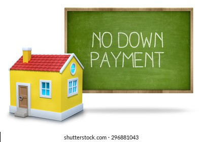 No down payment on green Blackboard with 3d house