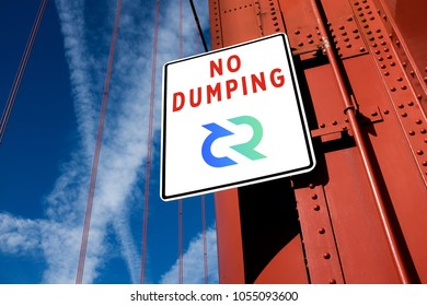 No dumping - crypto currency long time holding concept, bear market downtrend crash crisis, Decred DCR cryptocurrency symbol on a traffic road sign board