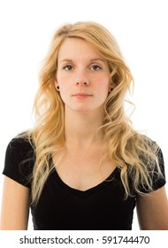 No Emotion Portrait of a Beautiful Young Blonde Caucasian Woman Isolated on White Background