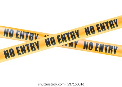 No Entry Caution Barrier Tapes, 3D rendering  isolated on white background