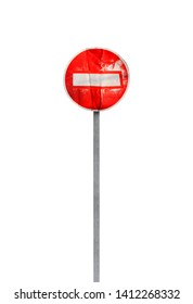 No Entry. Old weathered road sign on metal pole isolated on white background