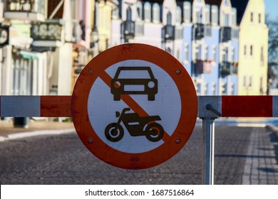 No entry sign for motocycles and cars