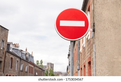 No entry / wrong way red sign outdoor at a junction. Europe. Rules of the road.