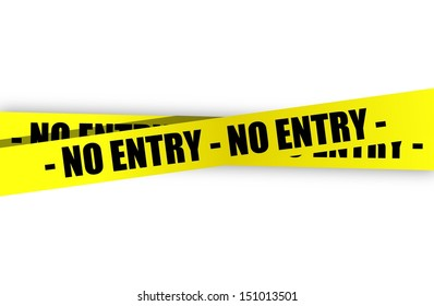 no entry yellow, warning tape illustration design over a white background