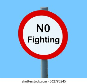 no fighting metal playground sign with lollipop design