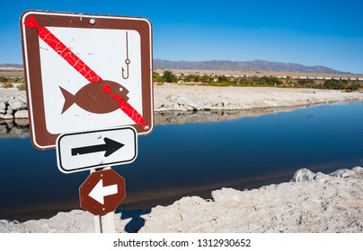 No fishing sign on the banks of the Salton sea in southern California
