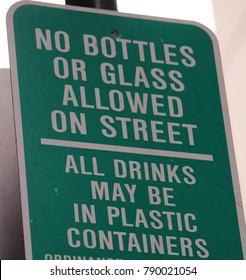NO GLASS BOTTLES ALLOWED SIGN