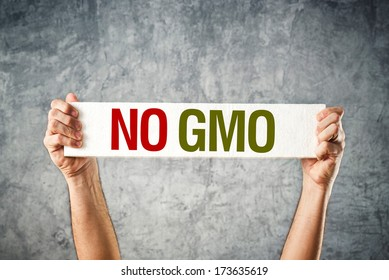 No GMO. Man holding banner with Anti GMO message.