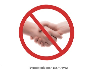 No hand shake, to avoid coronavirus infection , clipping path included