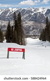 No jumping sign on a ski run at Purgatory ski resort in Durango, Colorado