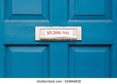 No junk mail precaution on door, London, England