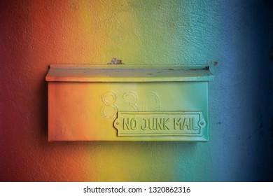 No Junk Mail - Rainbow painted mailbox