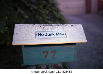 No Junk mail sign on a house letter box in Sydney city, Australia