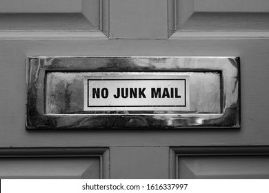 No junk mail sign on a front door's letter box