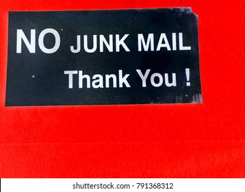 No junk mail thank you, sign in colourful background