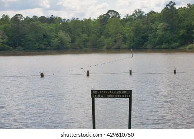 No Life Guard Sign Lake