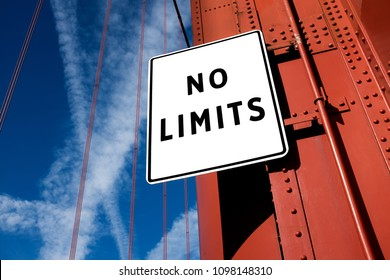 NO LIMITS motivational message written on a traffic sign, success achievement and aspiration, self belief concept