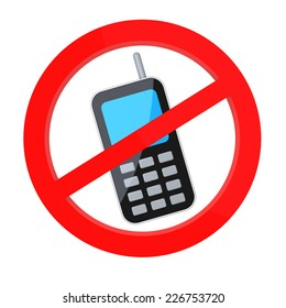 No Mobile Phones Allowed. Isolated Digitally Generated Image.