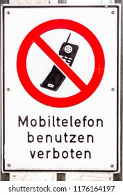 no mobile phones allowed sign in germany - translation: no mobiles allowed