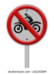 No motorcycle sign, isolated no bikes allowed prohibition zone , Part of a series.