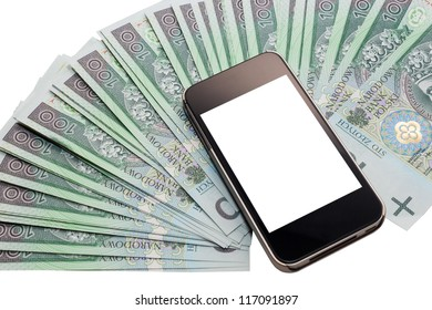No name cell phone. White screen. Thin silver cover. A lot of Polish zloty. PLN.