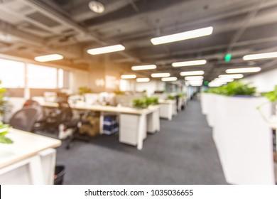 No one in modern office interior, blurred background