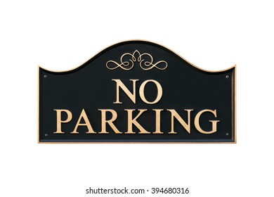 No parking - black and gold metal road sign