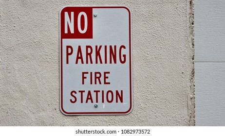 No Parking Fire Station Sign in the Historic Gold Mining Town of Downieville. California. USA