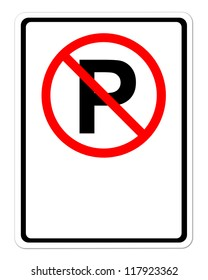 no parking sign blank for text on white background