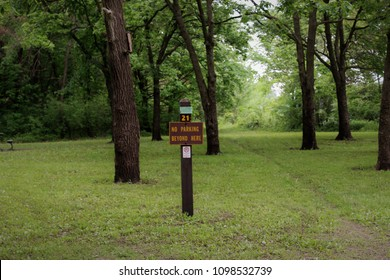 No parking sign at the campground at George Wyth State Park in Iowa, to keep vehicles off the grass.