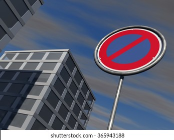 No parking signage with modern urban buildings and a slightly cloudy sky in background