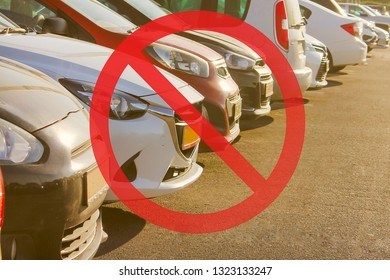 No parking, tow away zone, prohibition sign on parking cars, concept
