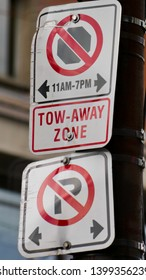 No parking, tow away zone. Parking restricted sign in Canada
