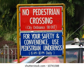 no pedestrian crossing sign