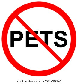No Pets Allowed sign symbol on white background