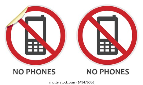 No phones signs in two styles depicting banned activities