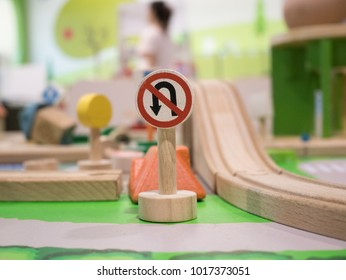 No return sign Toy Set Street Signs ,rail road going round a bend with bridge in backdrop,Play set Educational toys for preschool indoor playground
