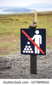 No Rock Stacking sign - stone stacking may harm the ecosystem, stone stacking disturbs the natural order of nature, frightens wildlife and harm the earth.